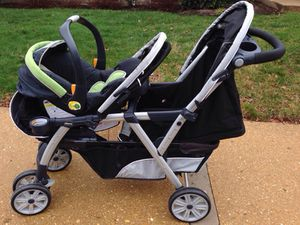 Chicco cortina double stroller with Chicco Keyfit car seat and 2 bases for Sale in Alexandria, VA