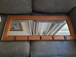 Entry way Oak wood Hat Rack wall mirror with 5 hooks to hang hats. Measures 14WX36L for Sale in Euless, TX