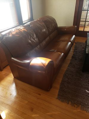 Real leather mint condition couch for Sale in Everett, MA