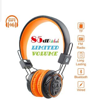 Kids Bluetooth Volume Limiting Headphones Wireless/Wired Toddler Foldable On-Ear Headset Earphones Mirco SD Card Slot,FM Radio for Children (Orange) for Sale in Silver Spring, MD