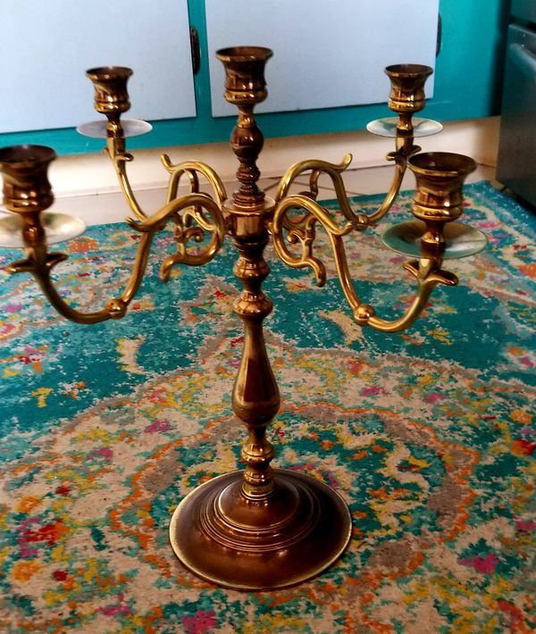 Vintage Brass Scroll Candelabra Centerpiece
