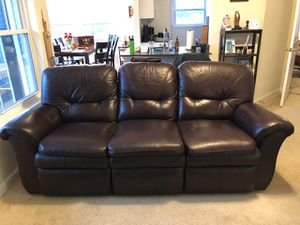 Deep Mocha Leather Couch for Sale in Alexandria, VA