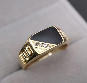 SALE!!! 18k Gold Men Engagement /Wedding/Christmas/Birthday/Anniversary/Hanukkah Ring filled Black Enamel for Sale in Los Angeles, CA