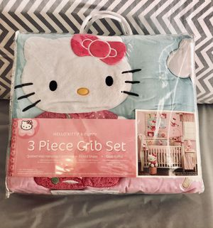 Hello Kitty 3 piece crib sheet set for Sale in Las Vegas, NV