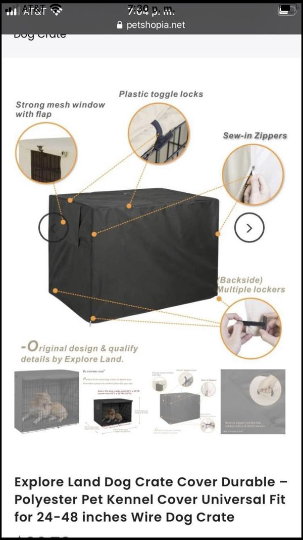 Explore Land Dog Crate Cover Durable – Polyester Pet Kennel Cover Universal Fit for 24-48 inches Wir