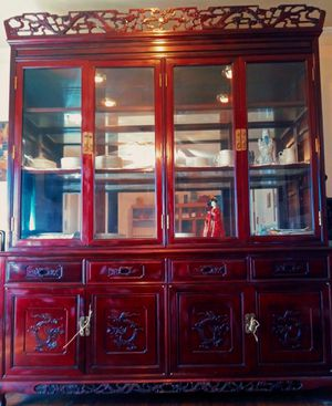 Beautiful Rosewood Dragon China Hutch for Sale in Mesquite, TX