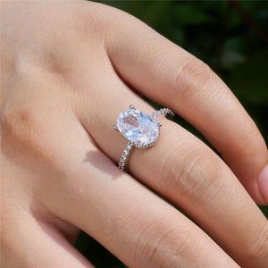 NEW Oval Shape Diamond Silver Ring for Women Anniversary Wedding Engagement Promise Ring for Sale in Las Vegas, NV