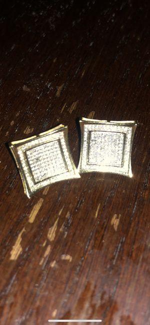Mens earrings big real gold n diamonds for Sale in Dallas, TX