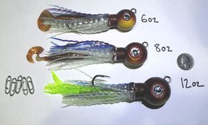 X4 NEW GLOW ROCKFISH JIGS 4 ROCKFISHING halibut grouper lingcod sculpin weights squid bottom grubs calico bass for Sale in La Habra Heights, CA