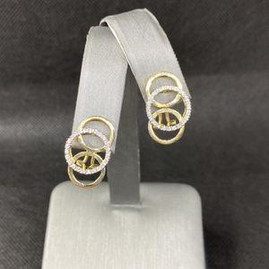 14k Yellow Gold Diamond Circle Earrings for Sale in Boynton Beach, FL