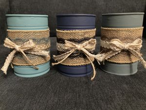Set of 3 Shabby Chic/Farmhouse/Cottage Up-cycled Tin Cans for Sale in San Diego, CA