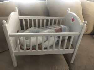 American girl bitty baby crib with a unmarked baby doll for Sale in Torrance, CA