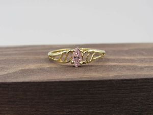 Size 7.5 10K Yellow Gold Petite Pink Cubic Zirconia Band Ring Vintage Estate Wedding Engagement Anniversary Gift Idea Beautiful Elegant for Sale in Everett, WA