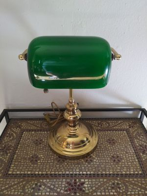"Solid Brass Vintage Green Glass ""Bankers Lamp"" for Sale in Houston, TX"