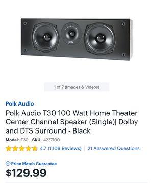 Polk Audio T30 100 Watt Home Theater Center Channel Speaker (Single)| Dolby and DTS Surround - Black for Sale in Philadelphia, PA