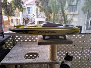 Atomic2 ready to run catamaran. Comes with two batteries charger extra parts in stand also transmitter for Sale in Las Vegas, NV