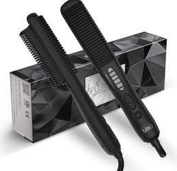 Gallas Turbo Hot Comb Hair Straightener Brush, Double Ionic, Fast Heating with 5 Heating Settings, Hair Straightener and Curler 2 in 1 for Sale in Sterling Heights,  MI