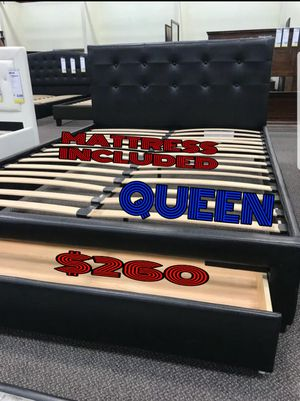 BRAND NEW BED FRAME QUEEN COMES IN BOX 📢📢📢📢📢📢MATTRESS INCLUDED 📢📢📢📢📢AVAILABLE FOR SAME DAY DELIVERY OR PICK UP for Sale in Compton, CA