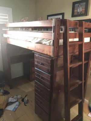 Bunk bed with desk under for Sale in Moreno Valley, CA
