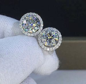18K WHITE GOLD CZ DIAMOND HALO EARRINGS for Sale in The Bronx, NY