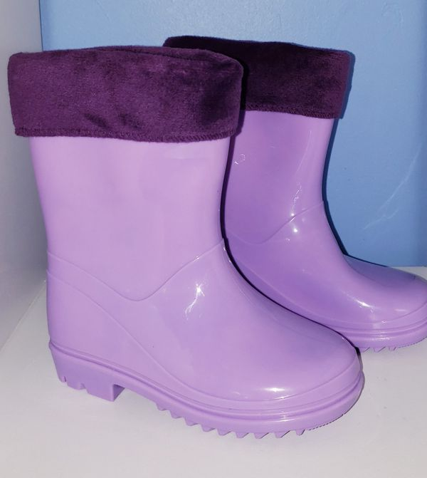 Outee Fashion Toddler Girl Kids Rain Boots Purple Waterproof Shoes Mesh Top Soft in sizes: 6, 7, 8, 11