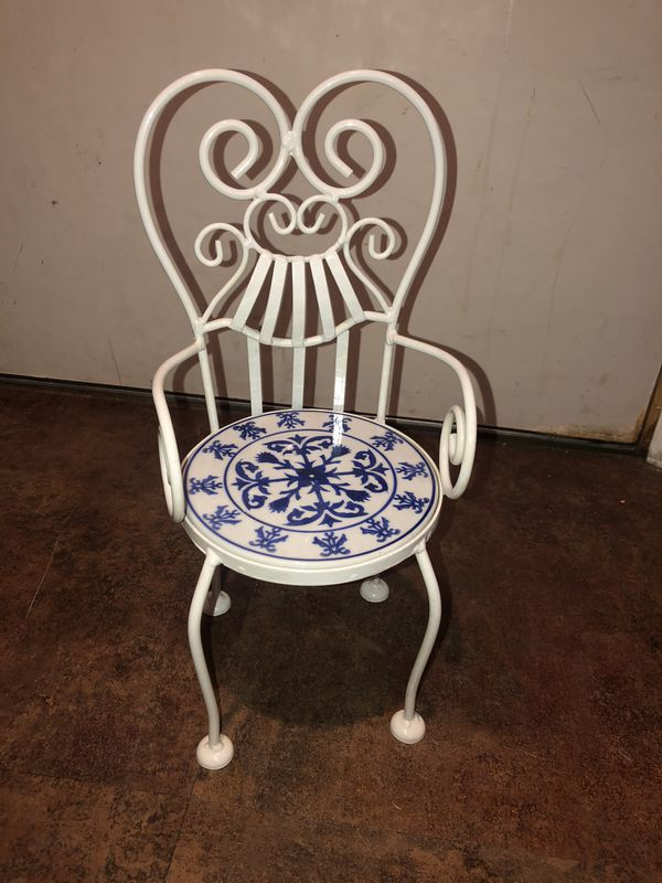 Metal & tile potted plant holder chair