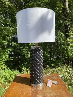 Black table lamp with gems and white lamp shade for Sale in Medford, MA