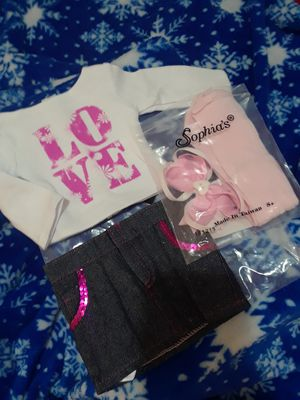 """4pc outfit set denim love for 18"""" american girl doll NEW for Sale in Spokane Valley, WA"""