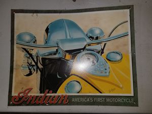Indian America's First Motorcycle Metal Sign for Sale in McHenry, IL
