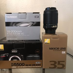 Nikon D5500 DSLR Camera With 4 Lenses And Bag for Sale in Vancouver, WA
