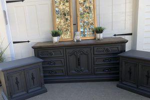 Dresser, gray, solid oak for Sale in Battle Ground, WA