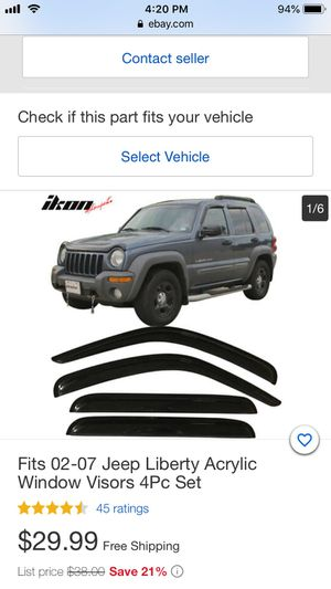 Jeep Liberty window visors 2002 to 2007 for Sale in Kingsport, TN