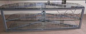 """Heavy duty glass tv stand fits """"60"""" inch if needed for Sale in Gresham, OR"""