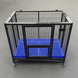 """$130 (new) olding Dog Cage 37x25x33"""" Heavy Duty Single-Door Kennel w/ Plastic Tray for Sale in El Monte,  CA"""