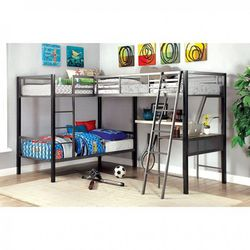 INDUSTRIAL DESIGN ALL IN ONE WORKSTATION TRIPLE LOFT BUNK BED TWIN SIZE DESK SHELVING for Sale in Downey,  CA
