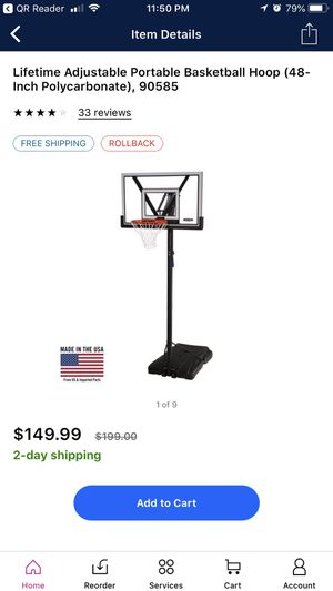 "Lifetime adjustable portable basketball hoop 48"" new for Sale in Scottsdale, AZ"