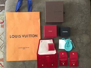 Designer Cartier Tiffany Chanel Louis Vuitton Bag Box and Pouches for Sale in Los Angeles, CA