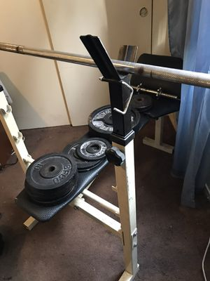 Competitor Weight Bench with BFCO Olympic Weights for Sale in Wilmington, CA