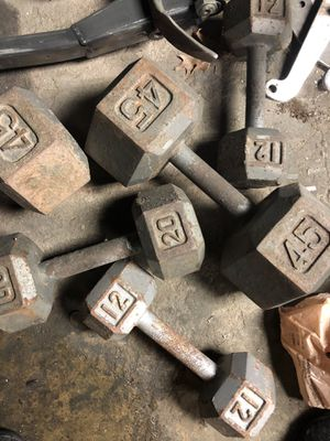 Pairs of 12 20 and 45 pound dumbbells for Sale in Randolph, MA