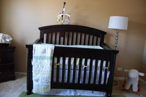 CRIB baby mahogany convertible with side rails for Sale in Grapevine, TX
