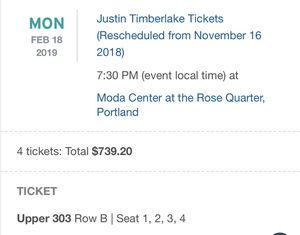 Justin Timberlake in Portland Tickets (4 Aisle seats in a block) for Sale in Kennewick, WA