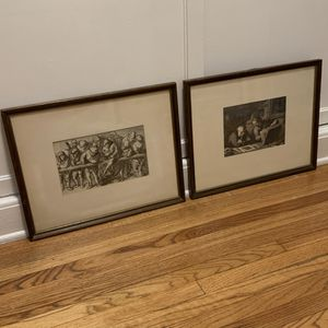 Pair of Antique Fine Art Prints - framed and matted for Sale in Los Angeles, CA