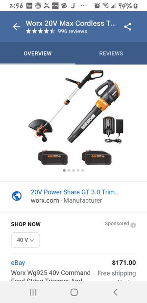 Worx command feed string trimmer & turbine leaf blower for Sale in McGehee, AR