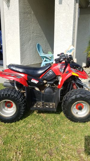 Polaris predator 50 cc starts and runs . Pink hand registration paid tell 2021 first comes first surve for Sale in Fontana, CA
