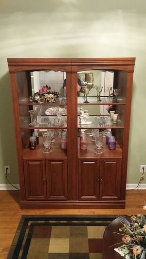 Two large cabinets with shelves and lighting for Sale in Cary, NC