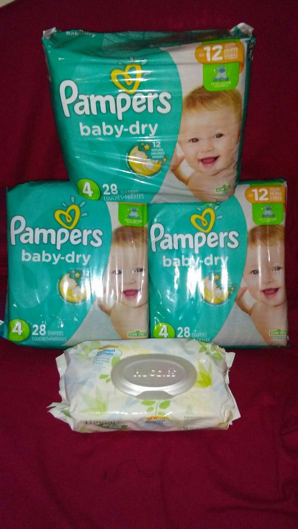 3 packs of pampers sz 4 plus a pack of wipes