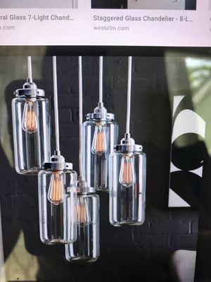 West elm 5 jar glass chandelier with Edison lightbulbs for Sale in South Miami, FL