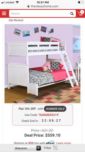 New classic white twin bunk bed w/ladder for Sale in Phoenix, AZ