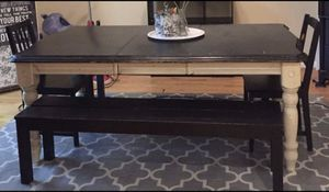 Solid Wood Stained Table, Leaf & IKEA Benches for Sale in Ashburn, VA