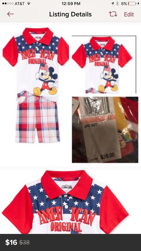 Mickey Mouse shorts and shirt